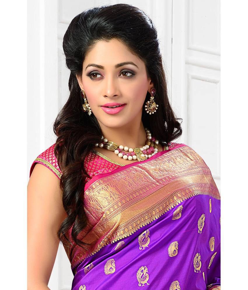 8d22bcf84753d9 ... Samyakk Purple and Golden Art Silk Kanchipuram Saree with Blouse Piece  ...