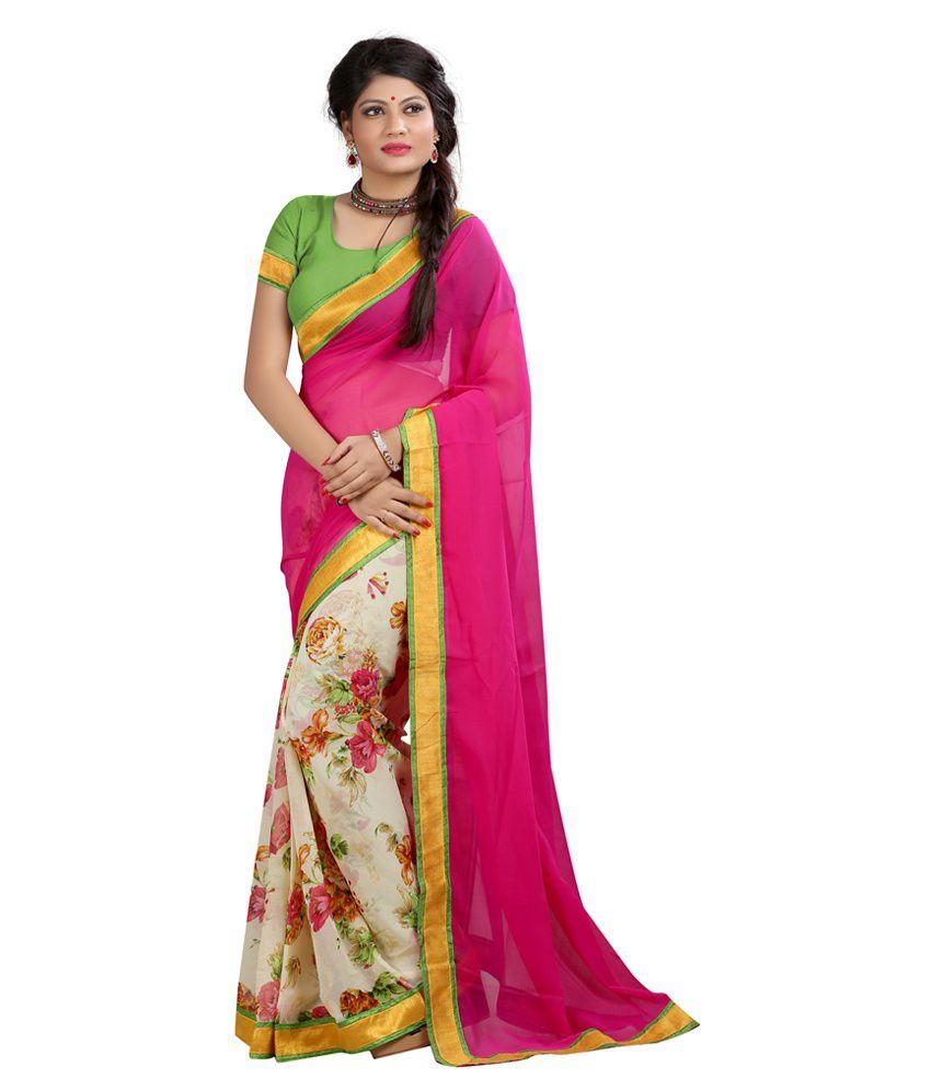 New Trendz Pink Faux Chiffon Saree