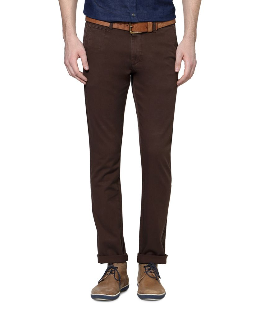 Allen Solly Brown Blended Cotton Chinos