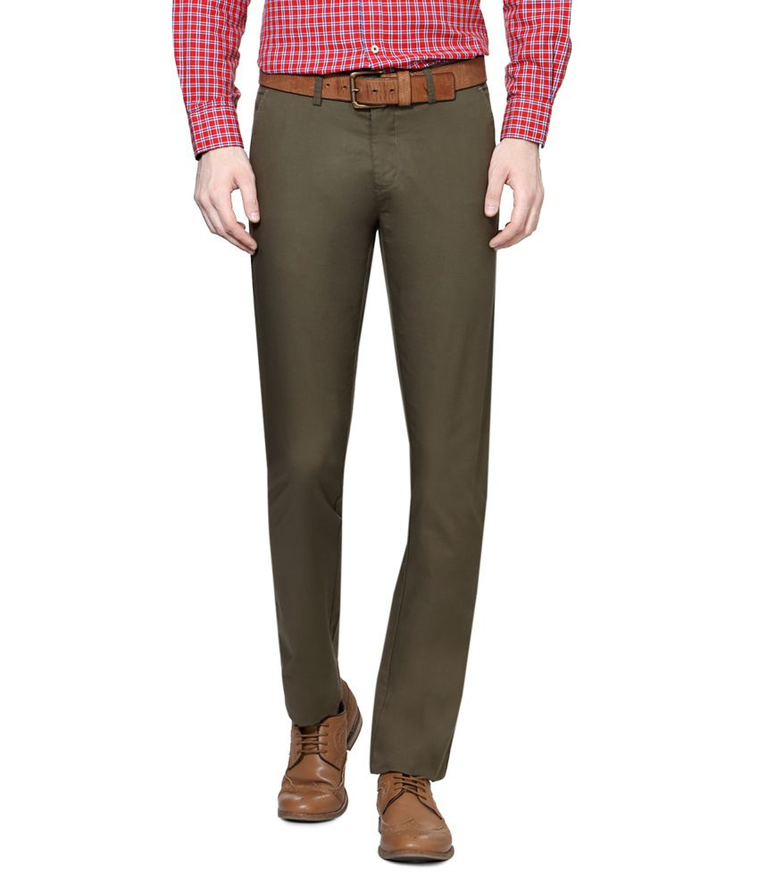 Allen Solly Green Blended Cotton Chinos