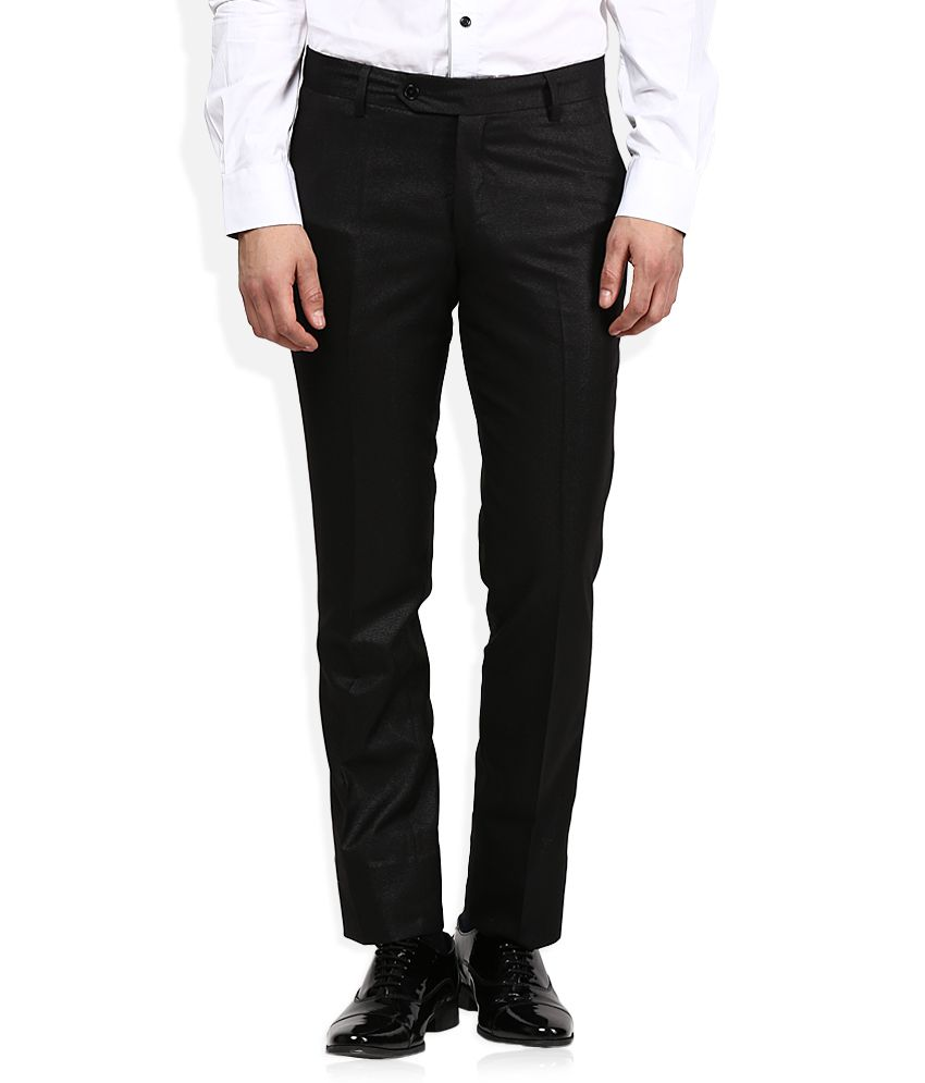John Players Black Solid Pleated Front Trousers
