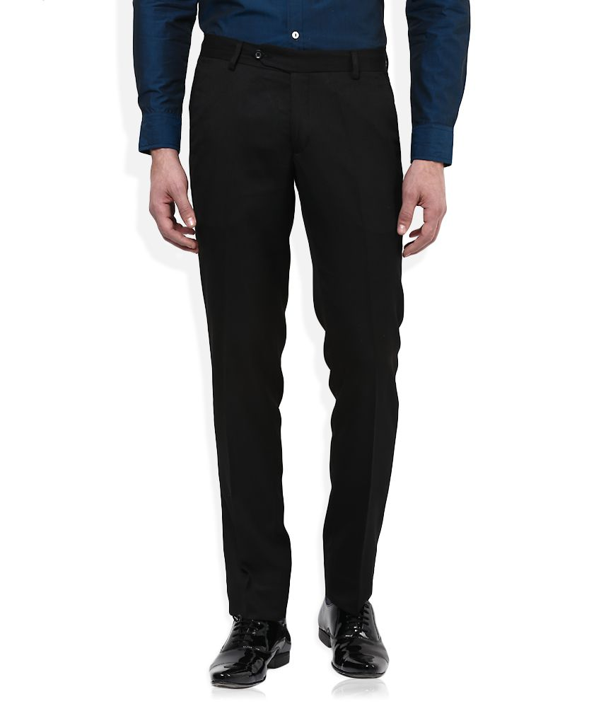 John Players Black Slim Fit Pleated Trousers