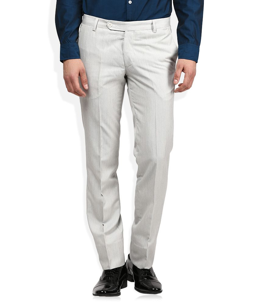 John Players White Slim Fit Pleated Trousers