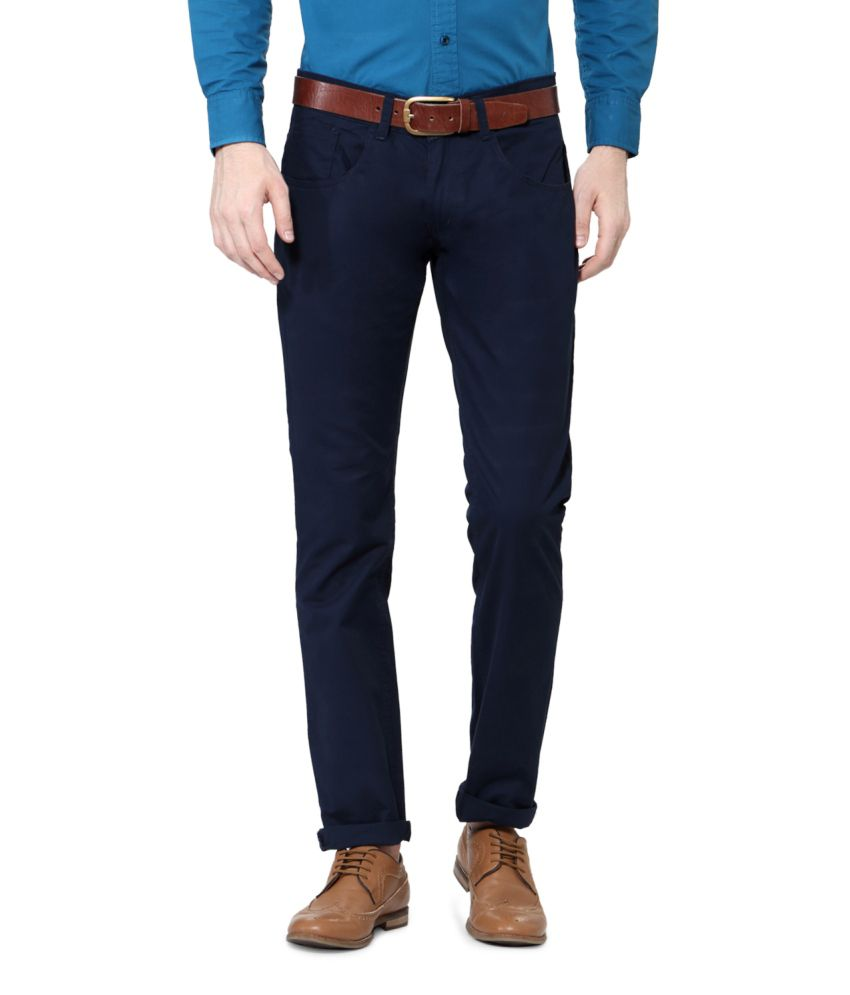 People Navy Blended Cotton Chinos