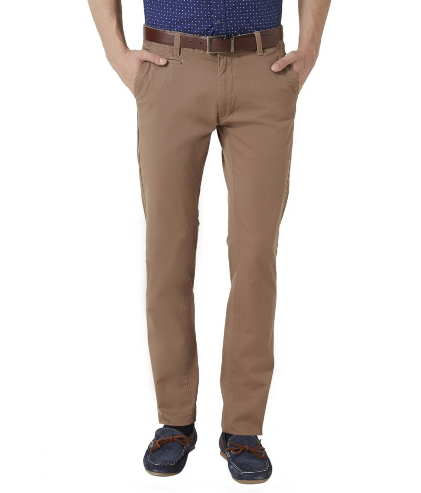 Peter England Brown Blended Cotton Flat Trousers