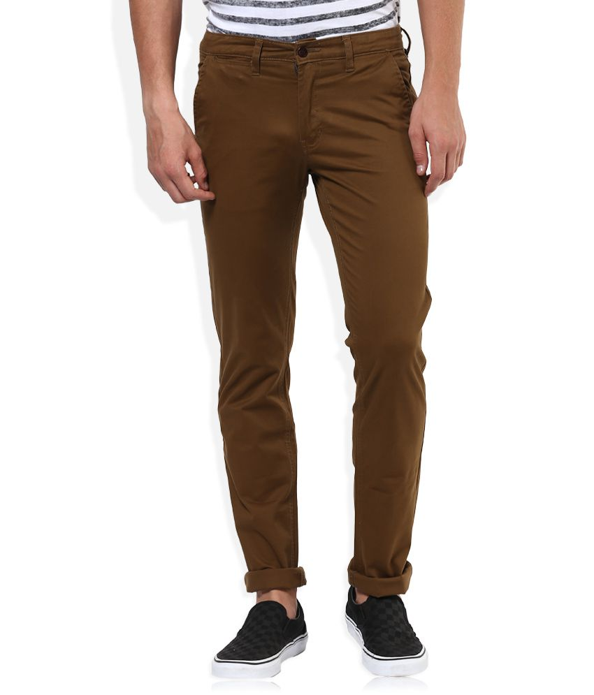 Sin Brown Solid Flat Front Trousers
