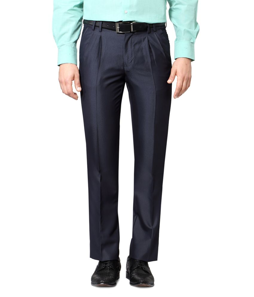 Van Heusen Blue Poly Blend Pleated Trousers