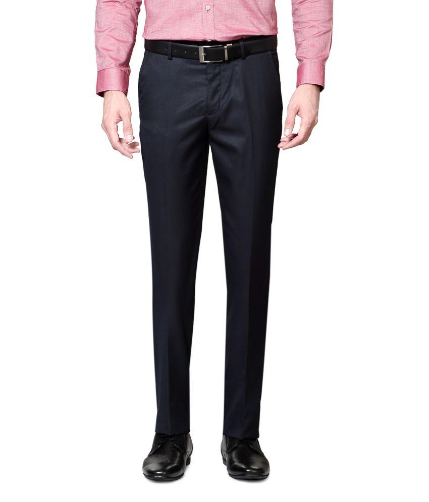 Van Heusen Navy Poly Blend Flat Trousers