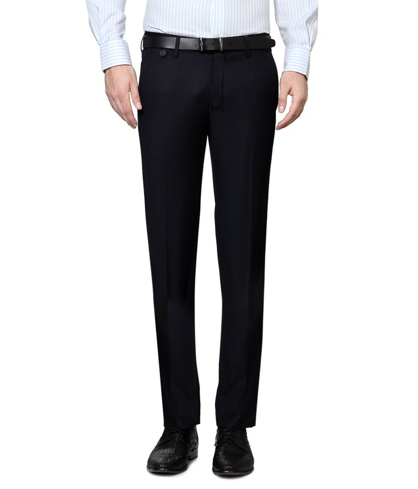 Van Heusen Navy Poly Viscose Flat Trousers