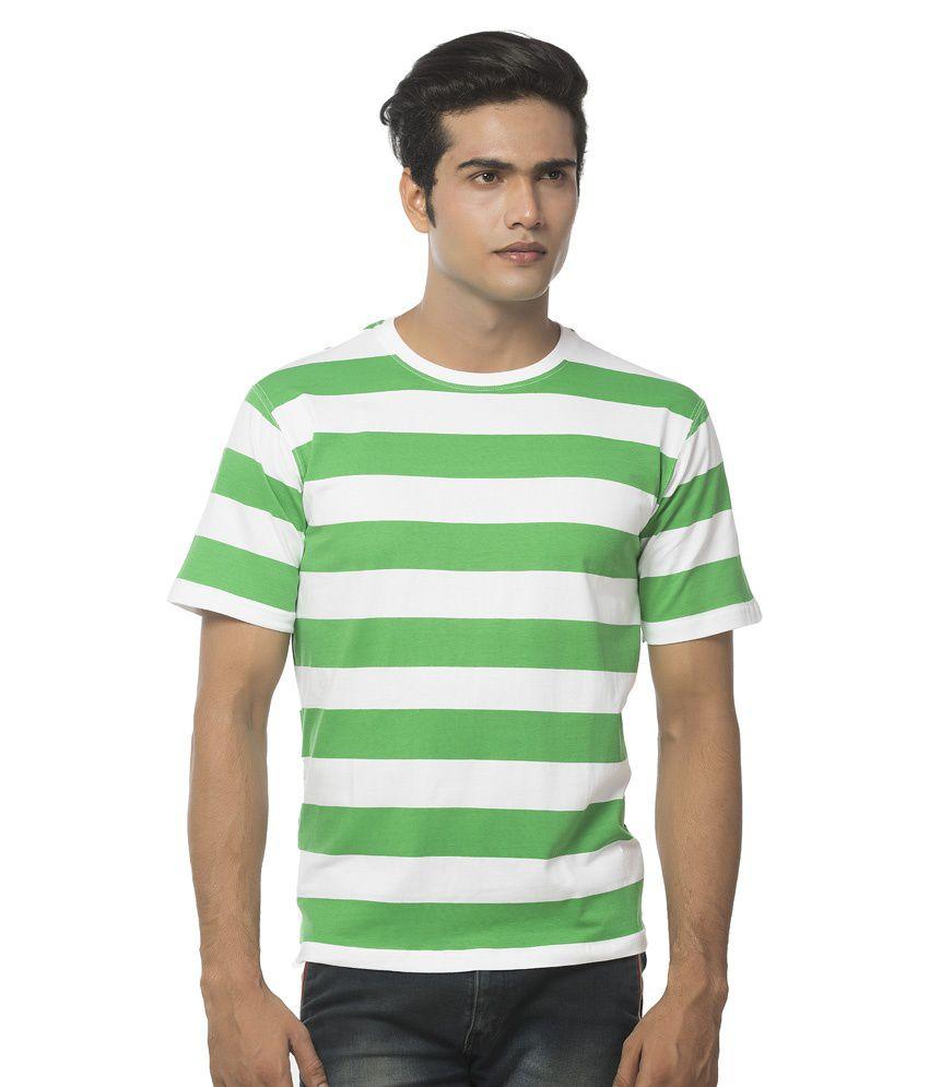 Clifton Mens Bold Stripes R-Neck Half Sleeve T-Shirt-Dark Green