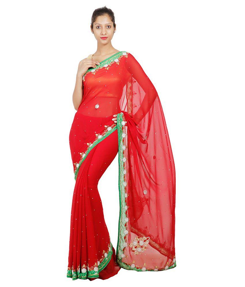 Adaab Red Chiffon Saree