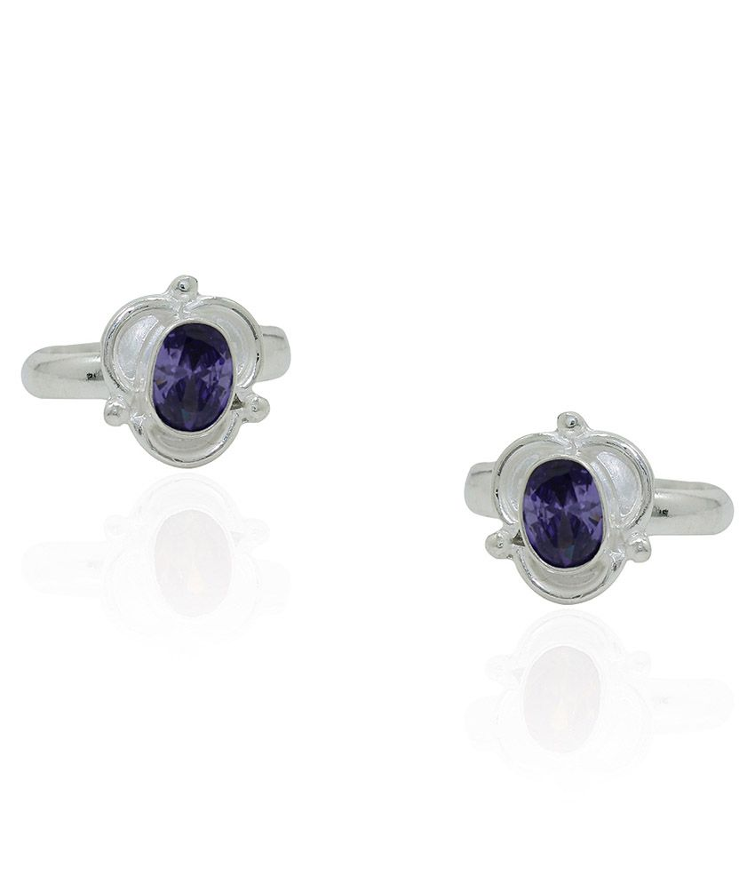 Frabjous Blue German Silver Toe Rings - Set Of 2