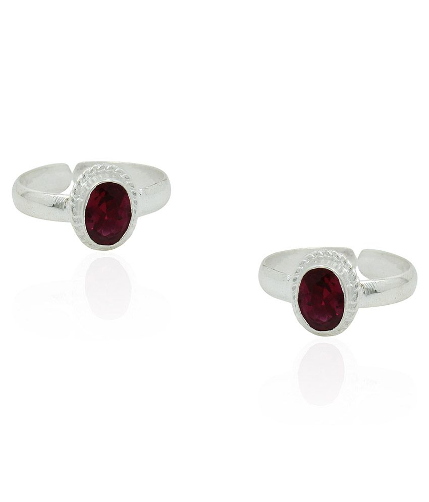 Frabjous Pink German Silver Toe Rings - Set Of 2