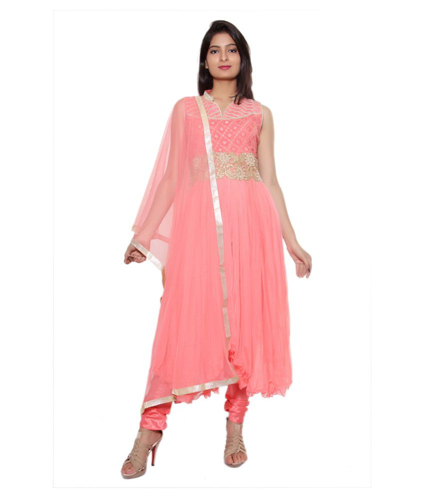Style Junction Pink Faux Georgette Stitched Suit
