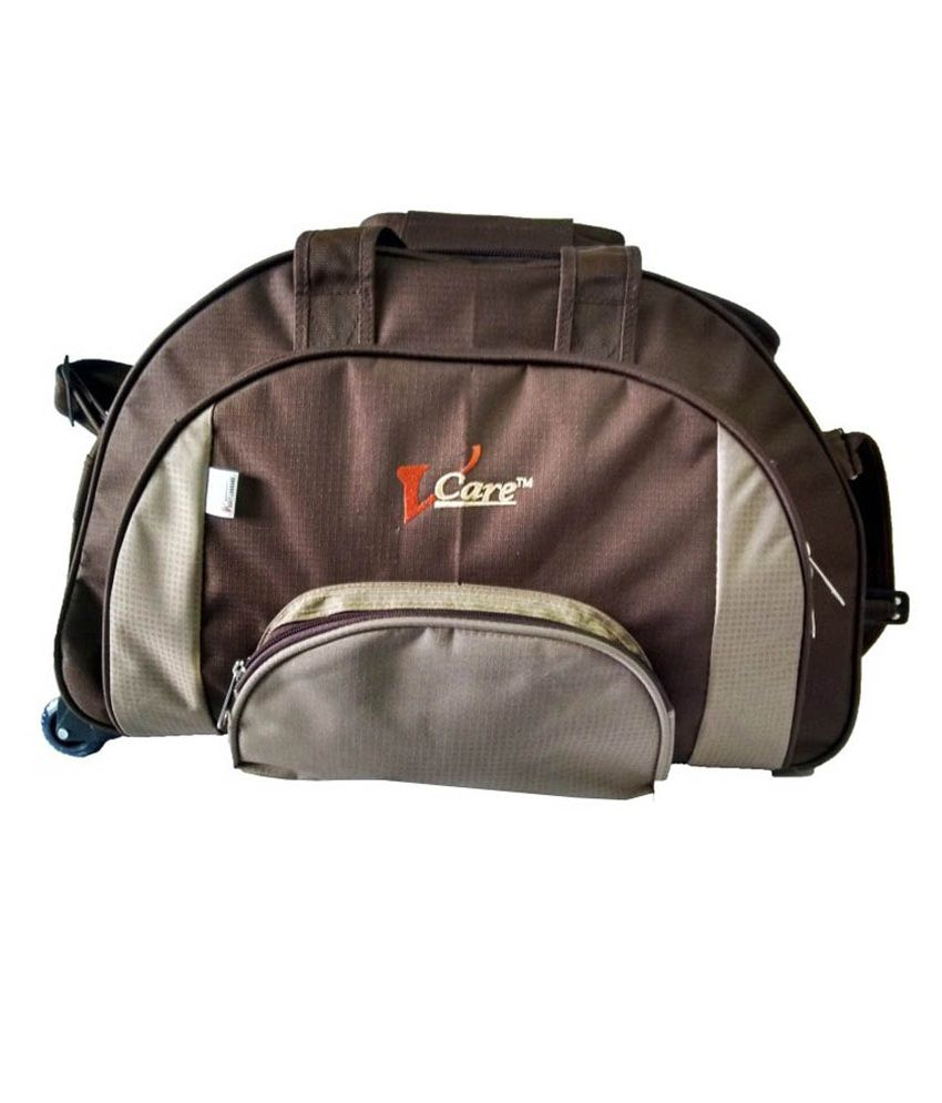 9c33c03fd Vcare Brown Polyester 22 Inch Large Duffel Trolley Bag - Buy Vcare Brown Polyester  22 Inch Large Duffel Trolley Bag Online at Low Price - Snapdeal