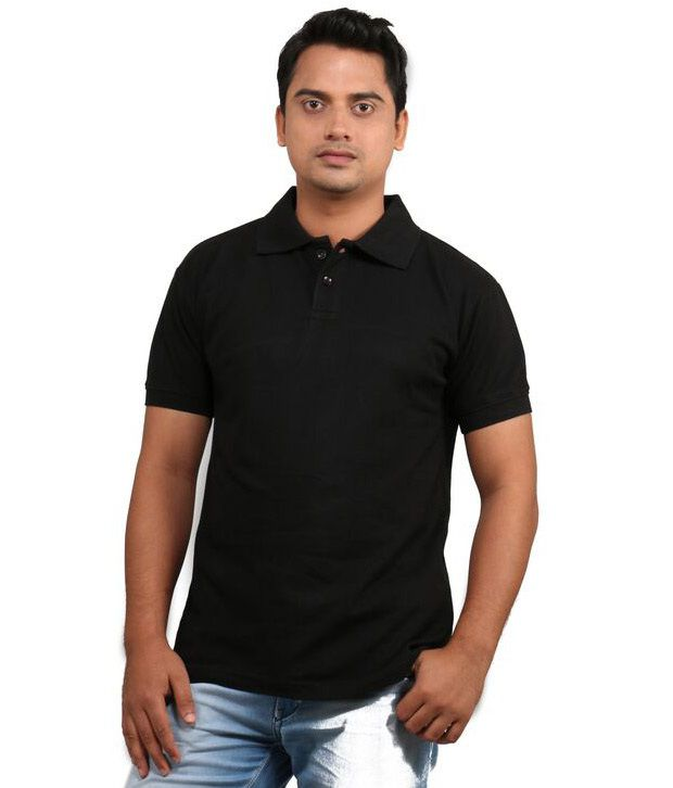 Loox By Apoorti Black Half Sleeve Cotton Polo T-Shirt