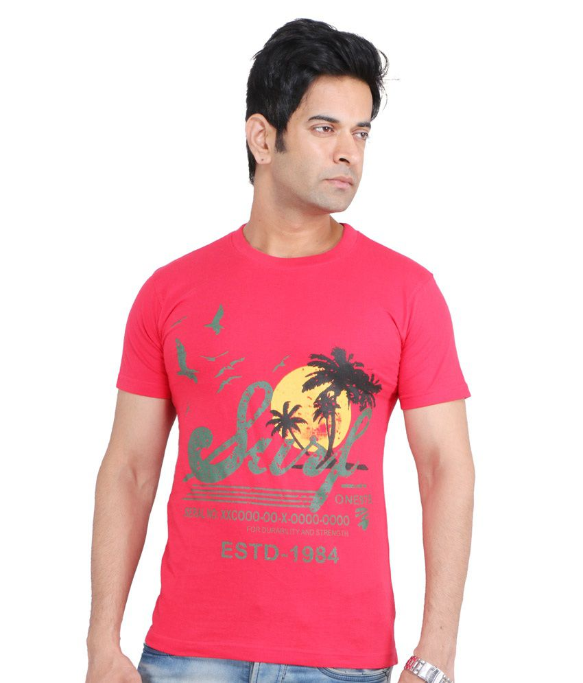 Loox By Apoorti Red Cotton Round Neck Half Sleeve T-Shirt
