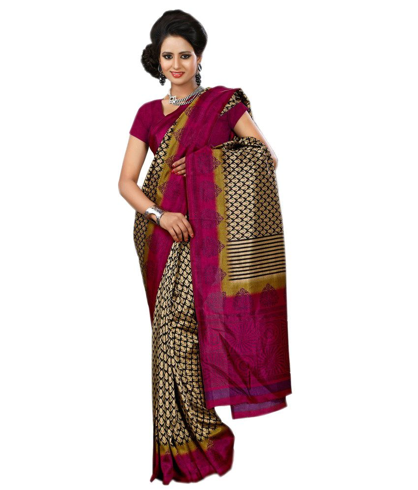 Anuraag Beige and Purple Pure Crepe Saree with Blouse Piece
