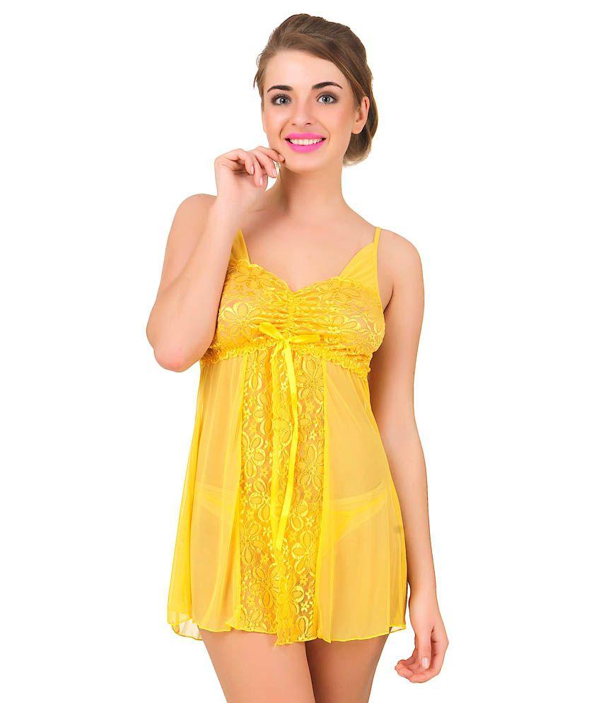 Bomshel Yellow Baby Doll Dresses