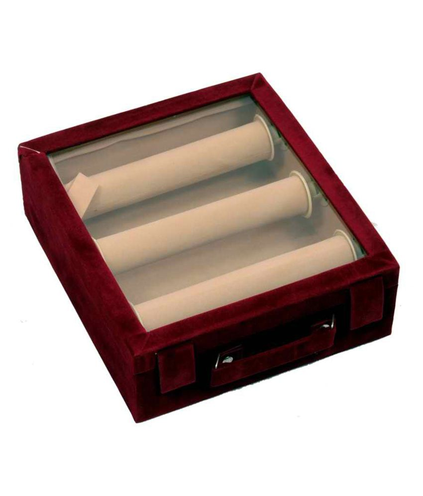 Kuber Industries Bangle Box Maroon Three Roll