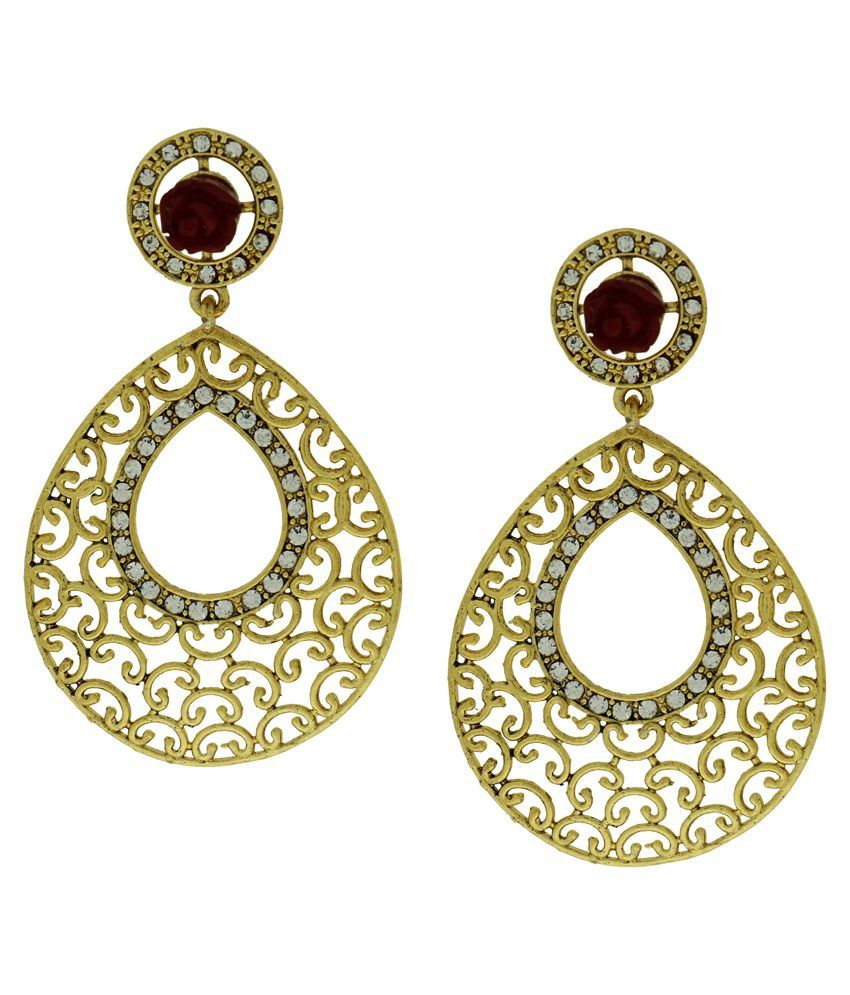 DG Jewels Maroon Austrian Diamond Designer Hanging Earrings