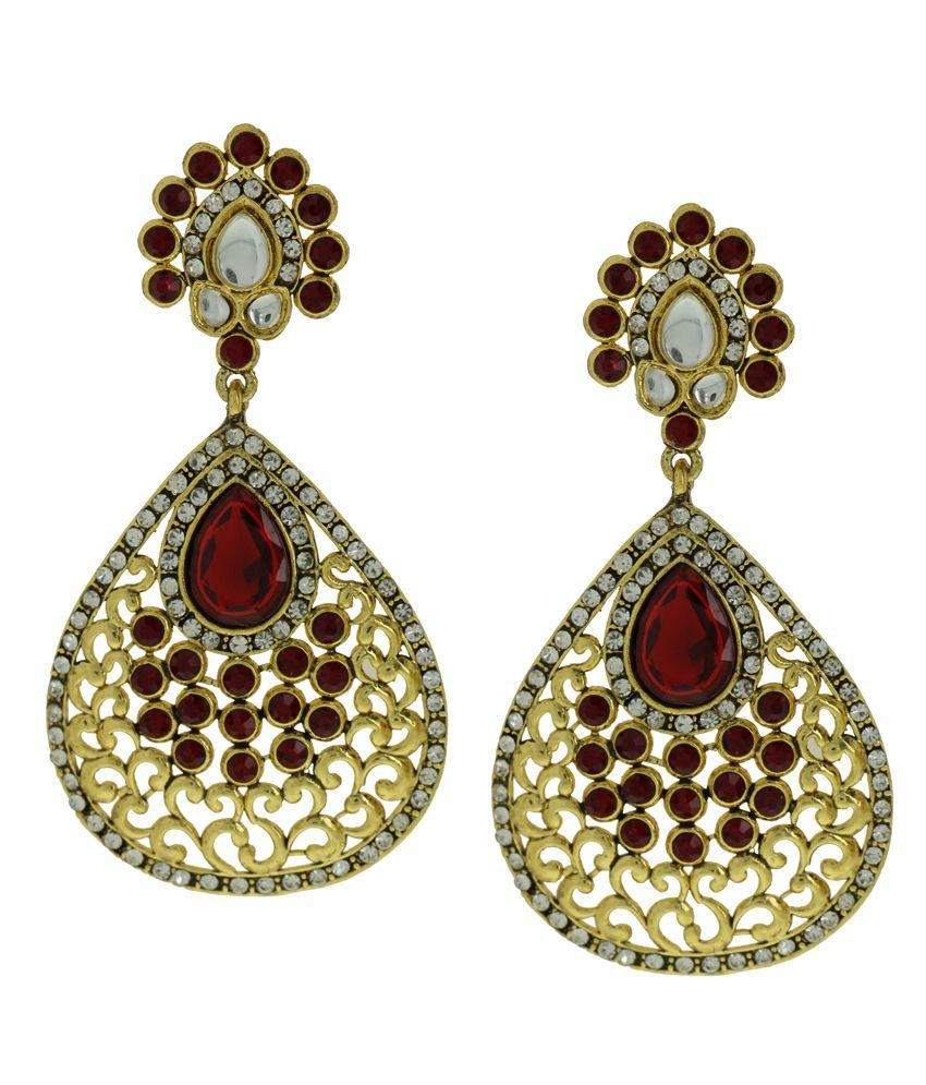 DG Jewels Maroon Designer Hanging Earrings