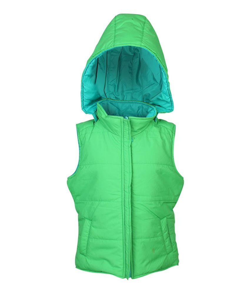 ELLO Green Sleeveless With Hood Reversible Jacket