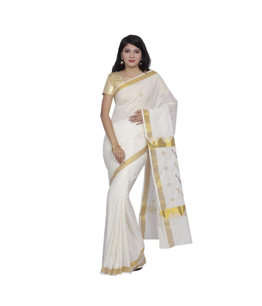 Fashion Kiosks White and Golden Kasavu Cotton Saree with Blouse Piece