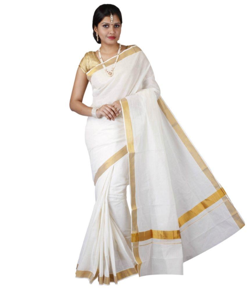 799e3bdcd8 Fashion Kiosks White and Grey and Golden Kasavu Cotton Saree - Buy Fashion  Kiosks White and Grey and Golden Kasavu Cotton Saree Online at Low Price ...