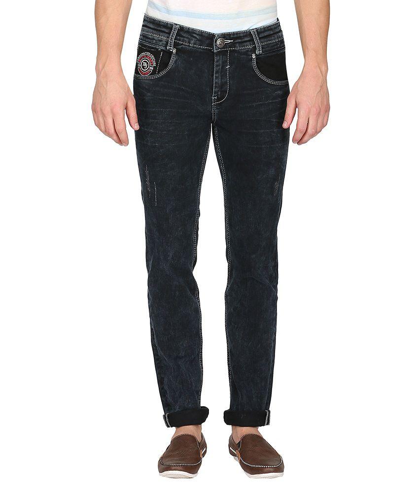 Mufti Black Dark Wash Slim Fit Jeans