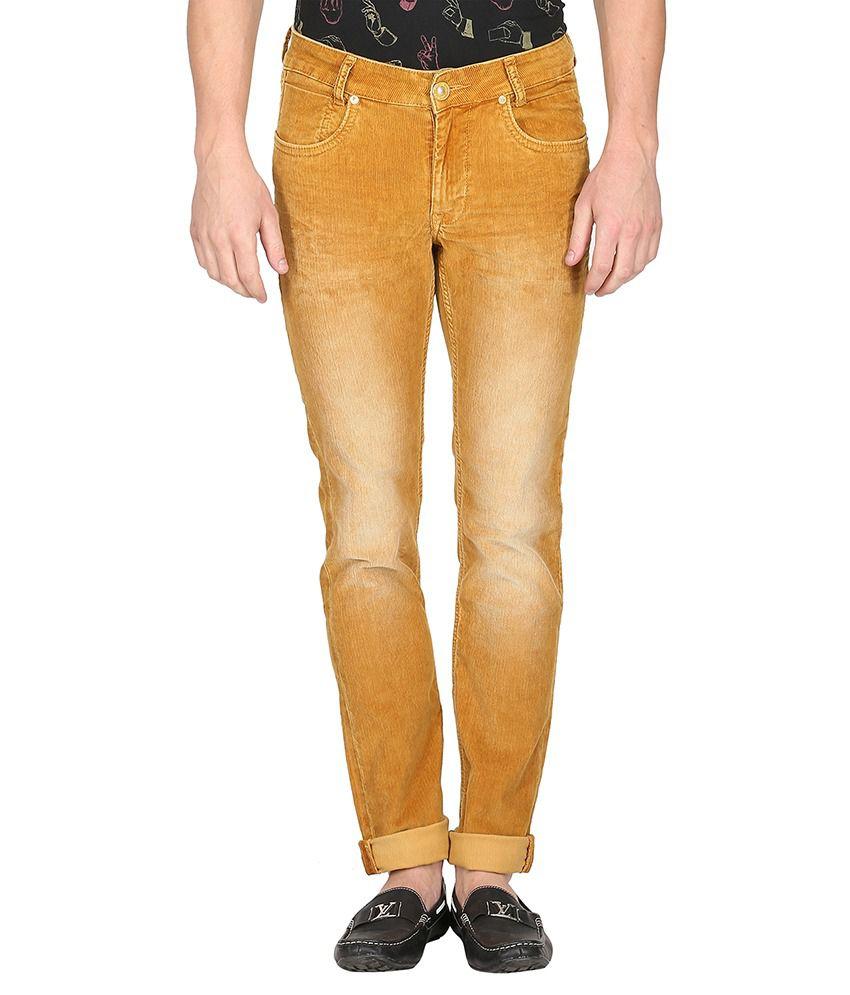 Mufti Tan Light Wash Slim Fit Jeans