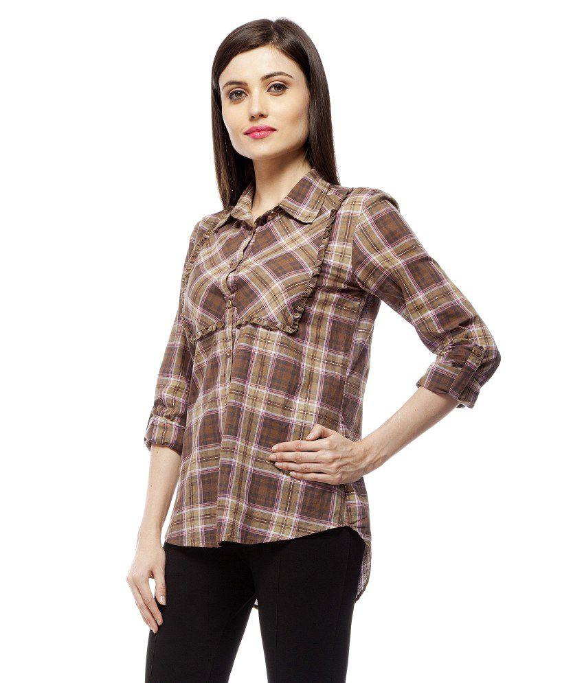 Stylestone Brown Cotton Shirts