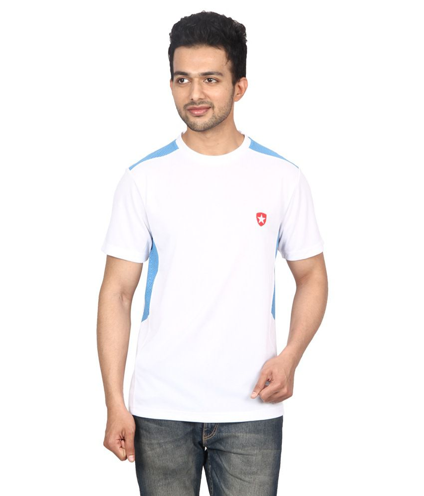 Gaames White & Blue Polyester T-Shirt