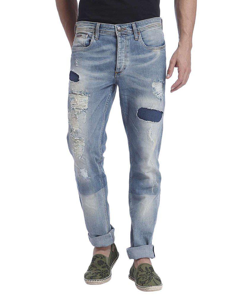 Jack & Jones Blue Cotton Slim Fit Jeans