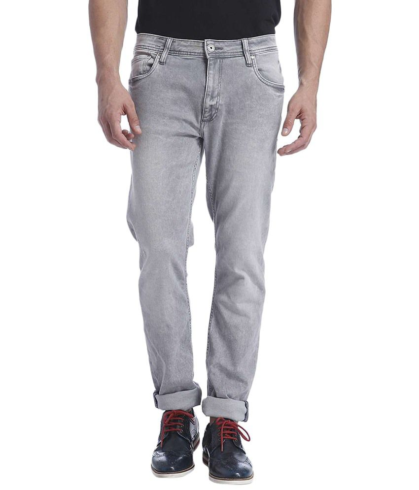 Jack & Jones Gray Cotton Slim Fit Jeans