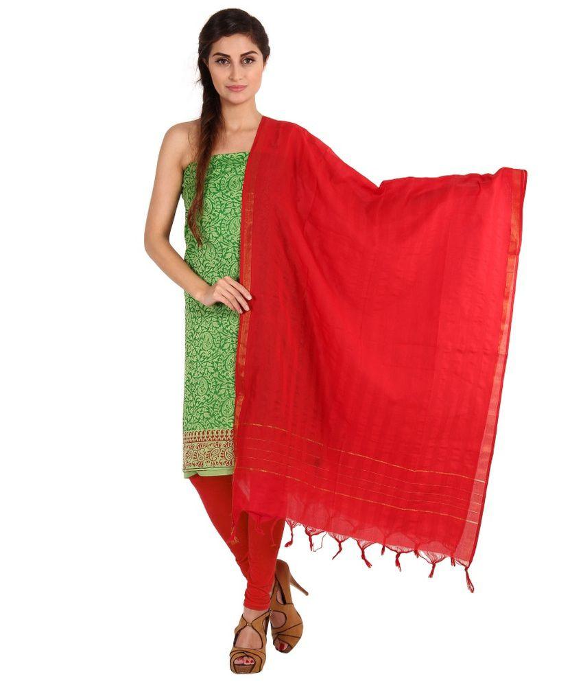 Platinum Green Cotton Unstitched Dress Material