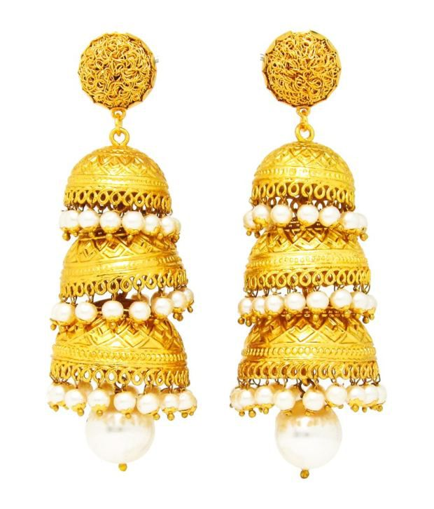 Beautiart Traditional Three Layer Jhumki With Pearl Droppers