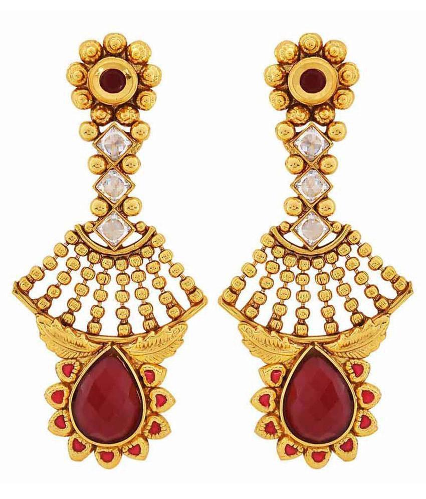 Maayra Antique Maroon Copper Drop Earrings