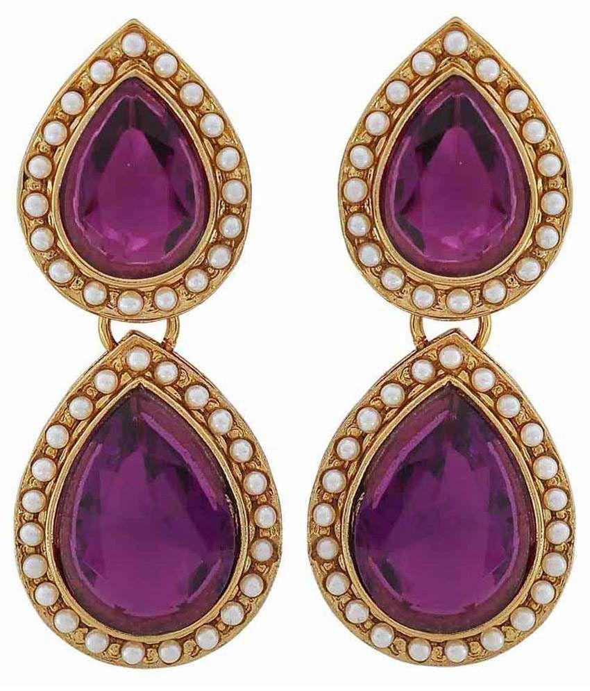 Maayra Antique Purple Copper Drop Earrings