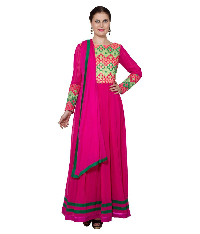 Raagbydeepa Pink Faux Georgette Stitched Suit