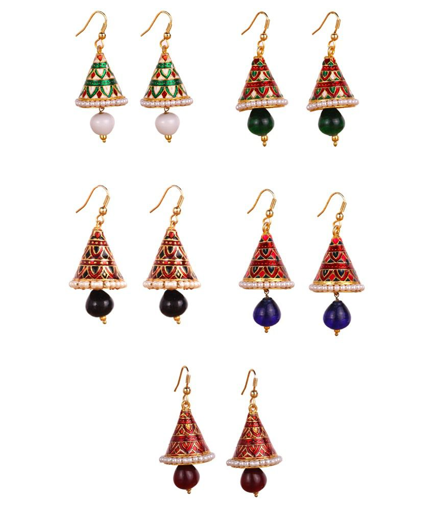 Makezak Blue & Golden Brass & Copper Jhumki Earrings
