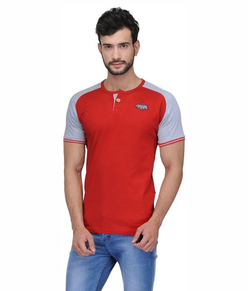 Ausy Red Cotton Blend T-Shirt