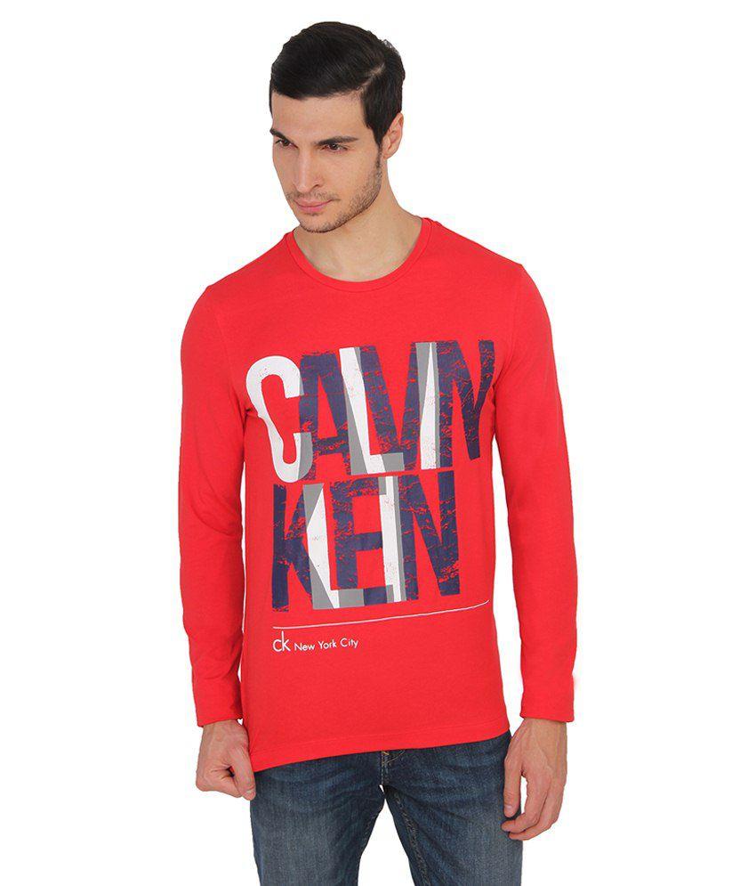 Calvin Klein Red Cotton T Shirt