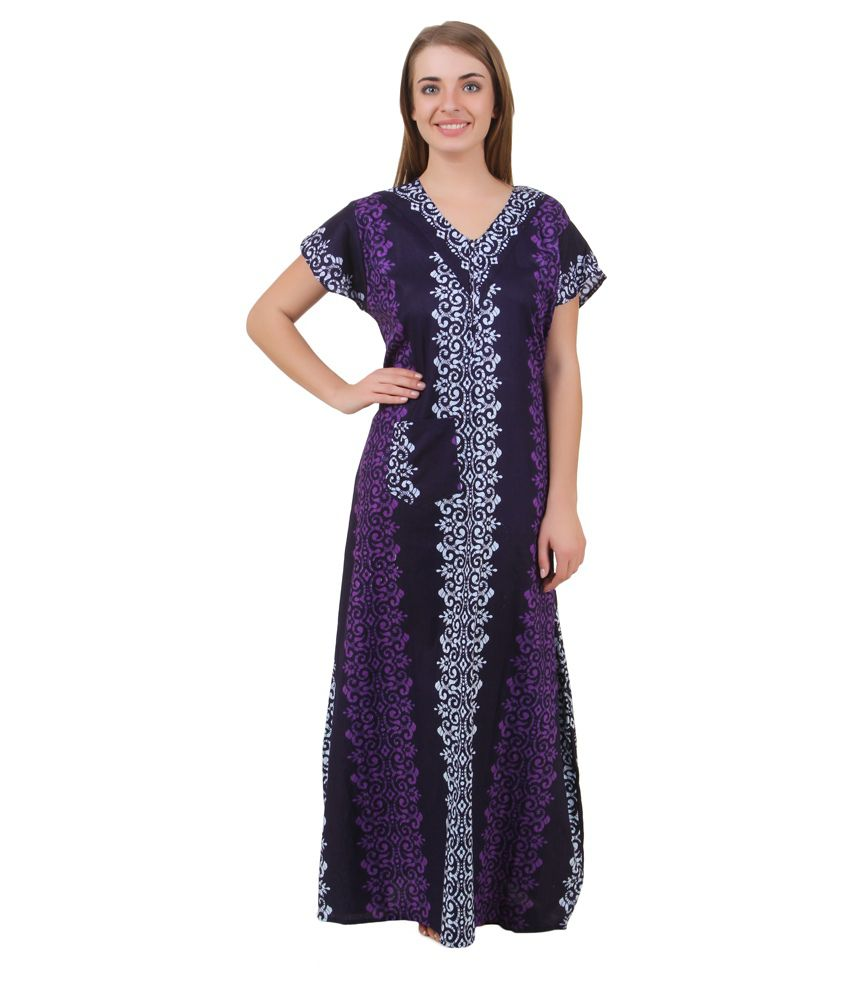 Masha Purple Cotton Nighty