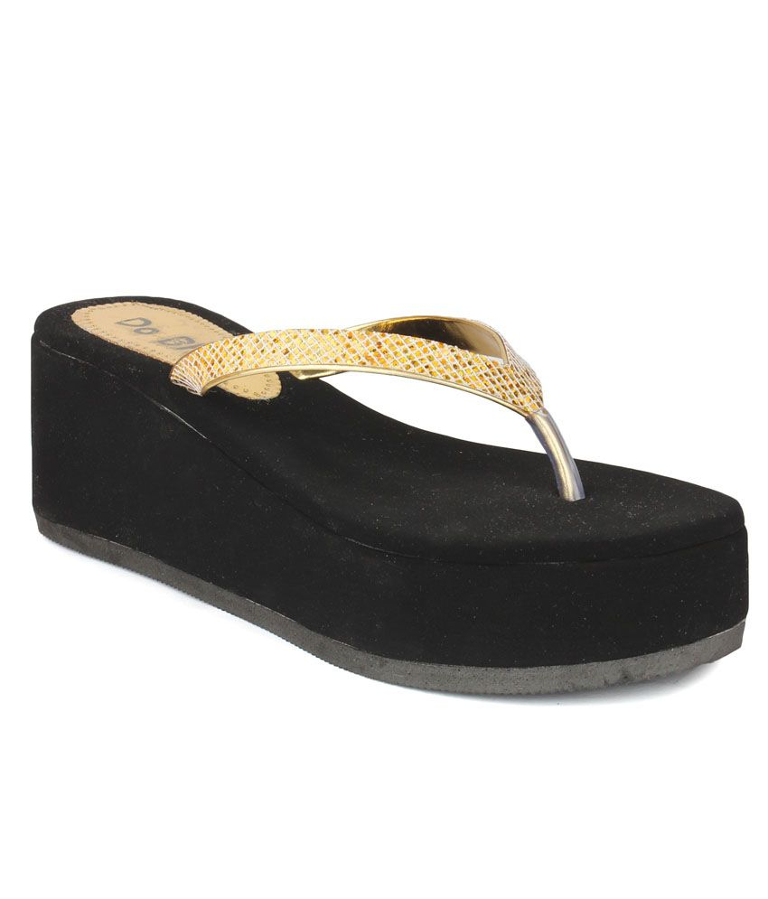 Do Bhai Golden Wedges Heels