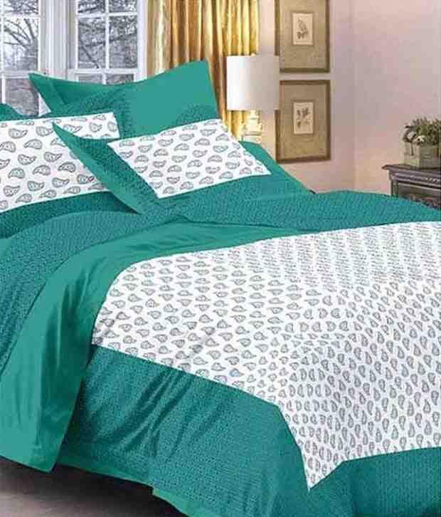 Kismat Collection UniqStylish Designer Cotton Double Bedsheet With 2 Pillow Cover