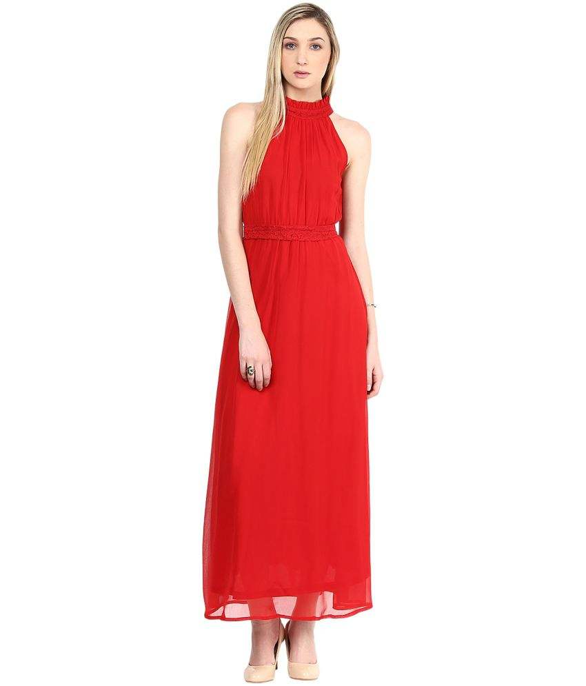 80f527c799 The Vanca Red Georgette Maxi Dress - Buy The Vanca Red Georgette Maxi Dress  Online at Best Prices in India on Snapdeal
