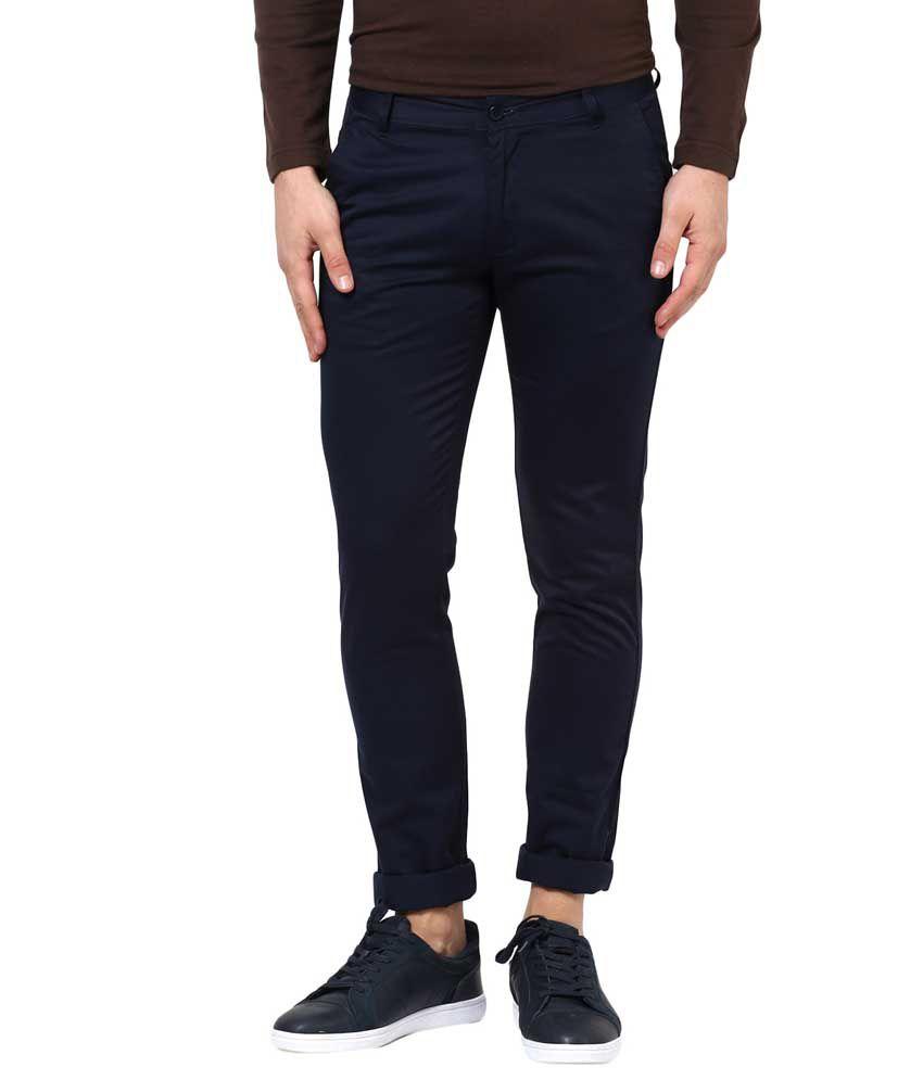 BUKKL Blue Slim Flat Trouser