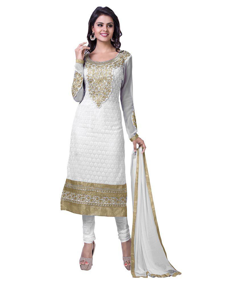 Women latest fancy designer salwar suit white pure