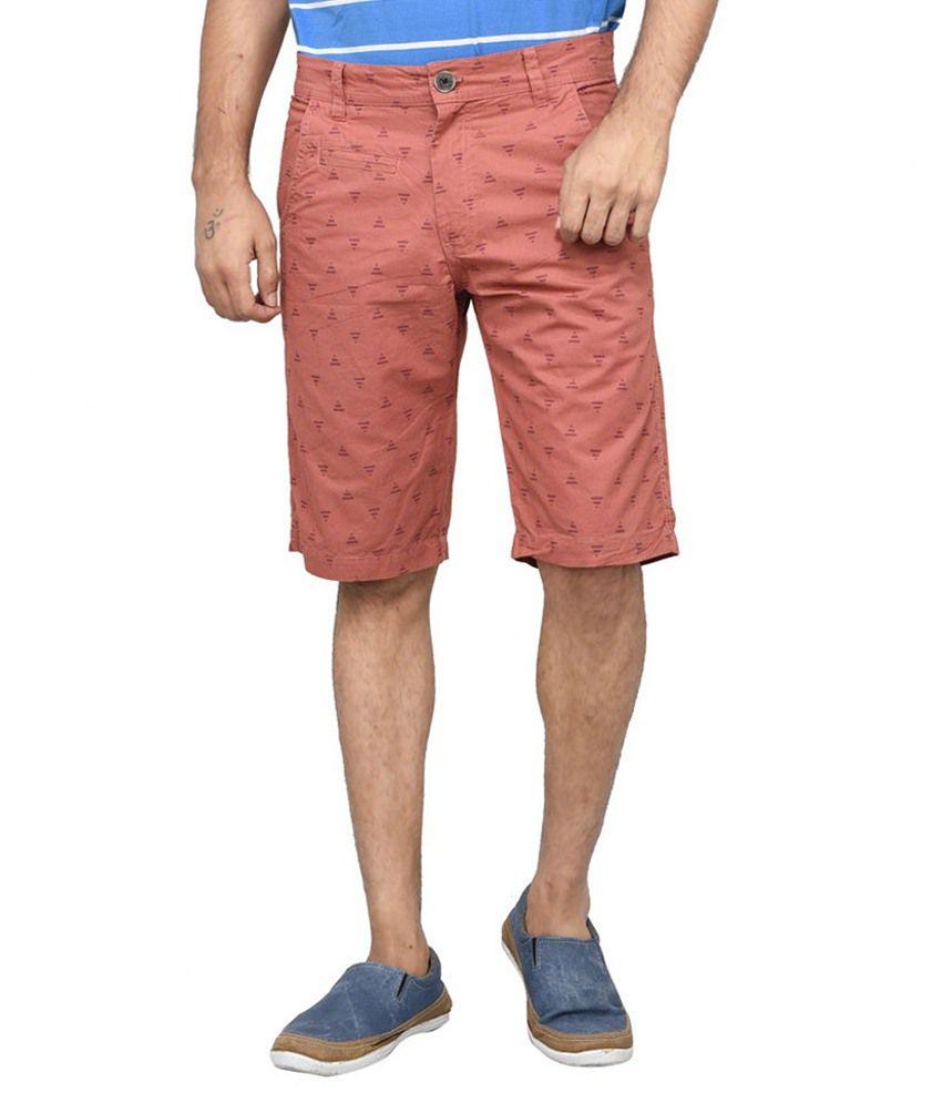 Clickroo Peach Cotton Shorts